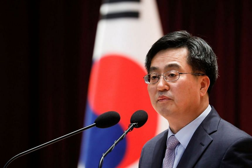South Korean Finance Minister Kim Dong Yeon speaks during his inaugural ceremony in in Sejong, South Korea, on June 15, 2017.