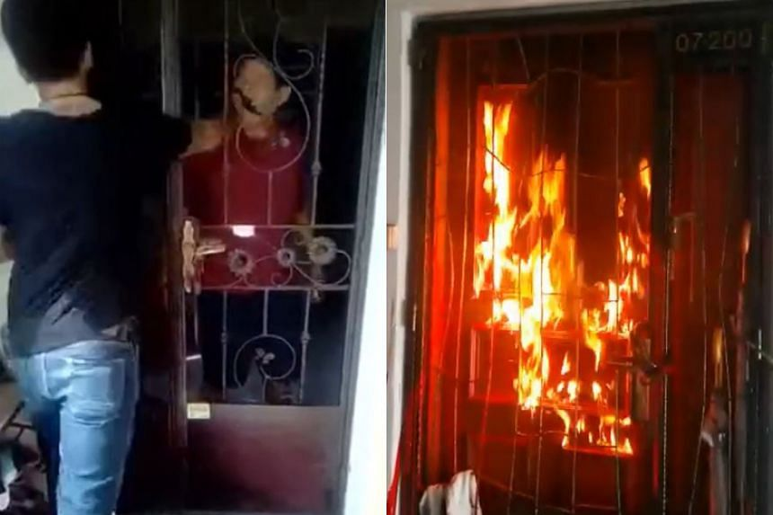 """In one clip, a man is seen punching another through the gate of a flat after mumbling that he """"owed money"""". Other videos show a person setting fire to the doors of flats."""