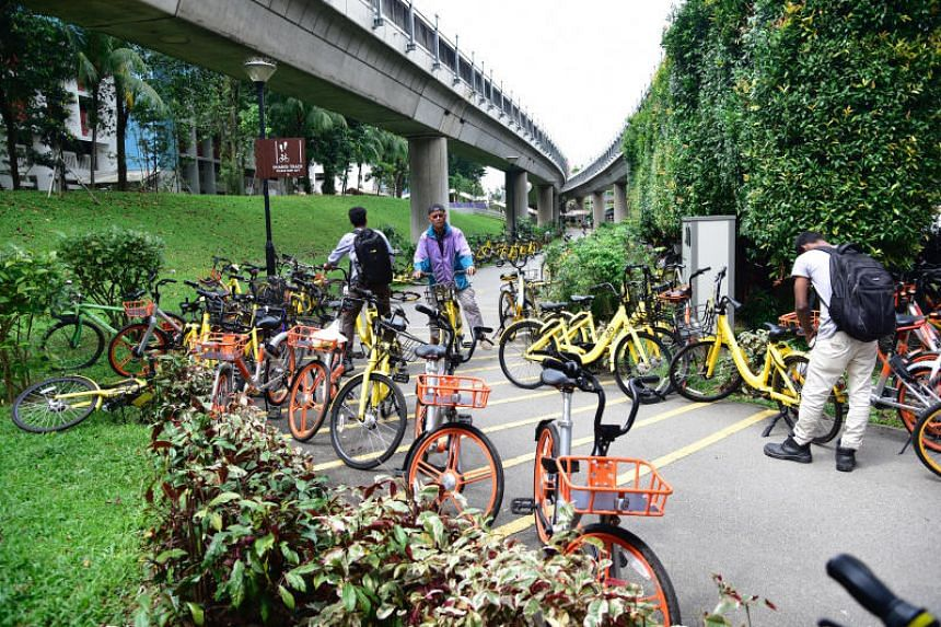 Rental bikes parked indiscriminately near Yishun MRT station on Feb 5, 2018.