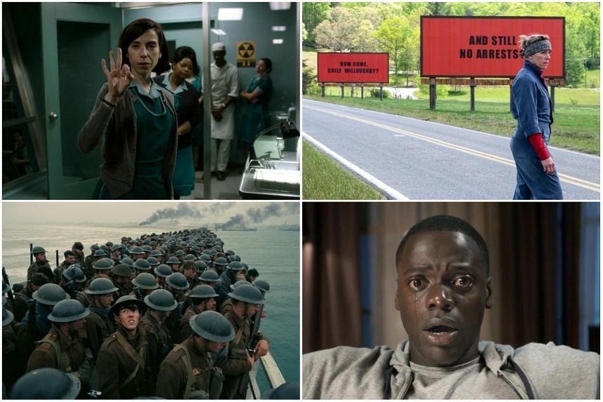 Will it be (clockwise from top left) The Shape Of Water, Three Billboards Outside Ebbing, Missouri, Get Out or Dunkirk to win the coveted Best Picture prize?