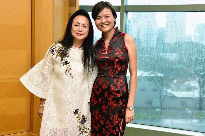 Banyan Tree co-founder Claire Chiang (left) and Grab co-founder Tan Hooi Ling at the International Women's Day event yesterday.