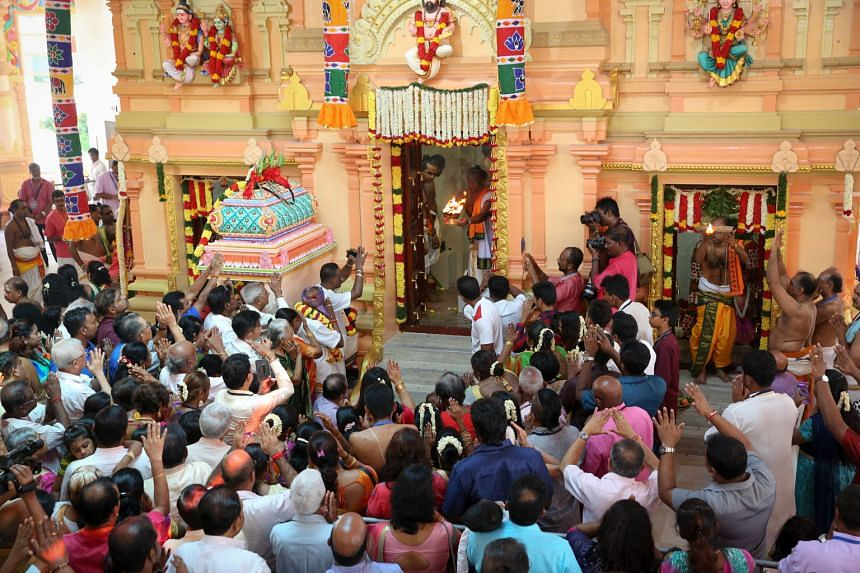Prayers being offered to the deities at the Arulmigu Velmurugan Gnana Muneeswarar Temple, which now boasts a fresh facade, upgraded facilities and a new multi-purpose hall after a year-long revamp.