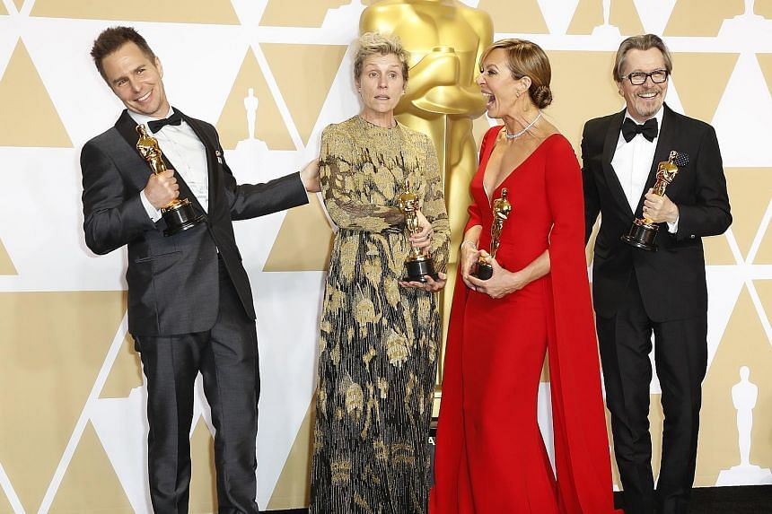 (From far left) Best Supporting Actor Sam Rockwell, Best Actress Frances McDormand, Best Supporting Actress Allison Janney and Best Actor Gary Oldman.