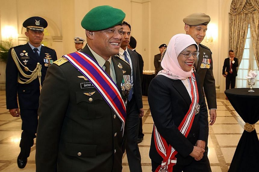 """The former commander-in-chief of the Indonesian Armed Forces (TNI), General Gatot Nurmantyo, was conferred Singapore's highest military award for his """"significant contributions towards strengthening the close and longstanding defence relations"""" betwe"""