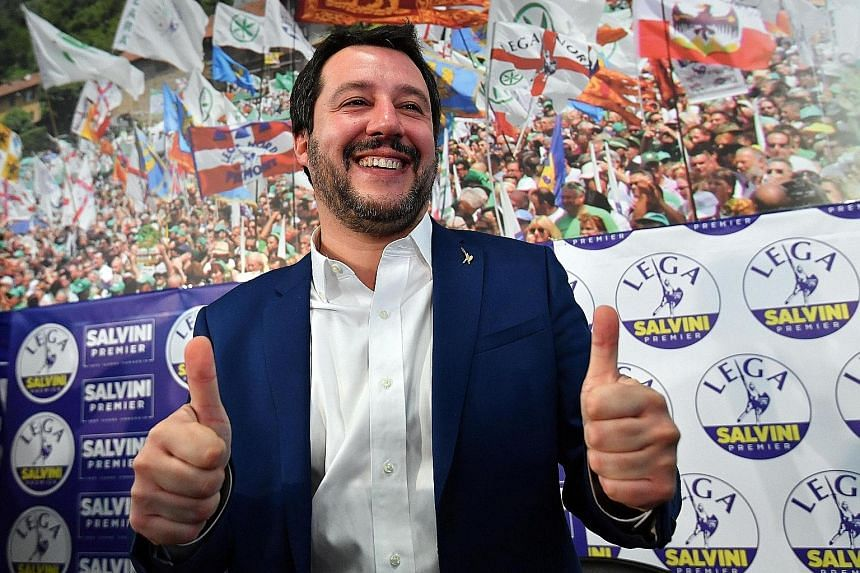 """Anti-immigrant League leader Matteo Salvini at his press conference in Milan yesterday. """"We have the right and duty to govern,"""" he said, after the party's centre-right coalition won the largest bloc of votes."""