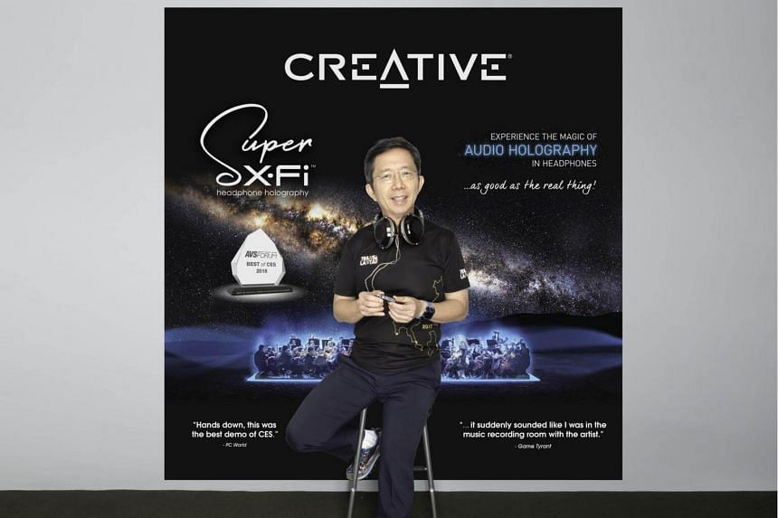 Sim Wong Hoo, the founder, CEO and Chairman of Creative Technology with the new Super X-Fi headphone processor.