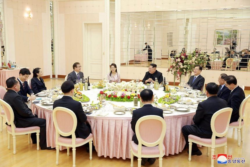 A dinner is prepared for members of the special delegation of South Korea's President in this photo released by North Korea's KCNA, on March 6, 2018.