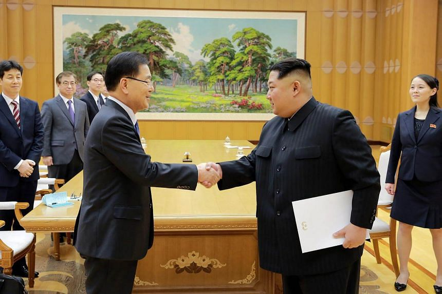 Kim Yo Jong (right) accompanied her brother, North Korean leader Kim Jong Un, to a meeting with Seoul's special envoys.