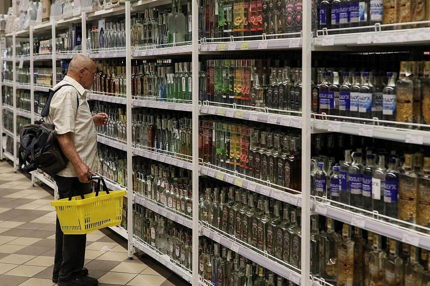 Bottles of alcohol at a supermarket in Kiev, Ukraine.