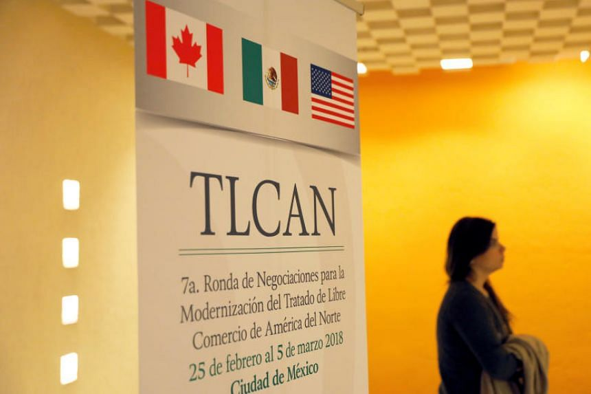 Nafta banner is pictured inside a hotel where the seventh round of Nafta talks involving the United States, Mexico and Canada takes place, in Mexico City, Mexico on March 3, 2018.