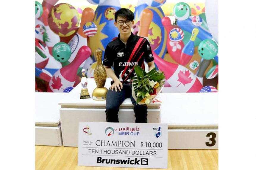 Singapore bowler Basil Ng wins the H.H. Emir Cup in Doha, Qatar, on March 5, 2018.
