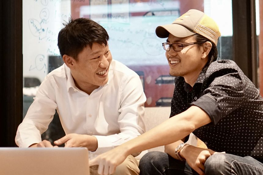 Mr Arthur Chua (left) and Mr Jarrold Ong (right), co-founders of Ministry of Movement, an 18-month-old start-up which aims to launch a dynamic service for buses in Punggol, Joo Koon and Shenton Way in the fourth quarter.
