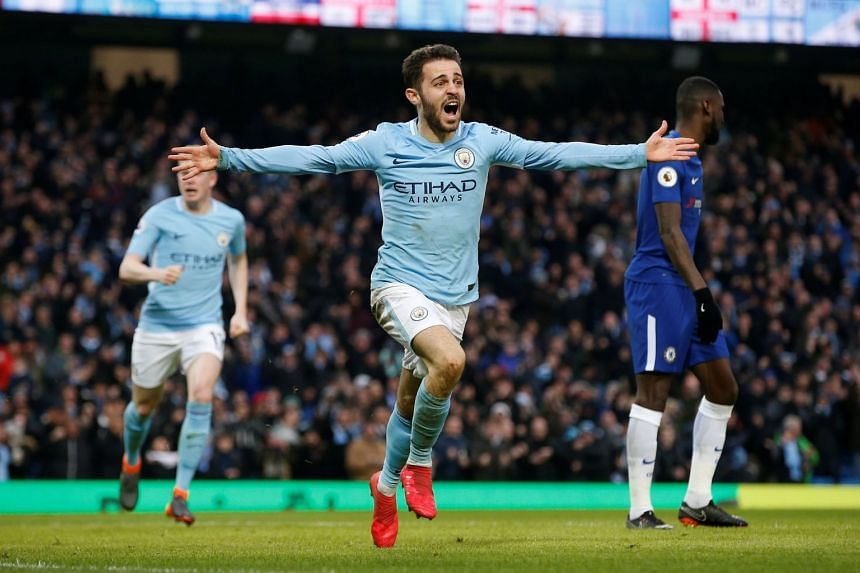 Manchester City's Bernardo Silva celebrates after scoring their first goal, on March 5, 2018.