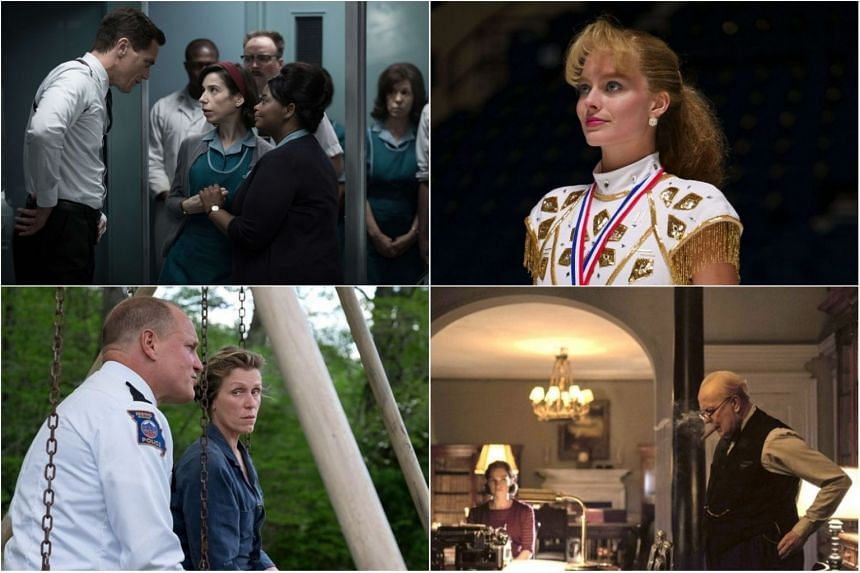(Clockwise from top left) Film stills from The Shape Of Water, I, Tonya, Darkest Hour and Three Billboards Outside Ebbing, Missouri.