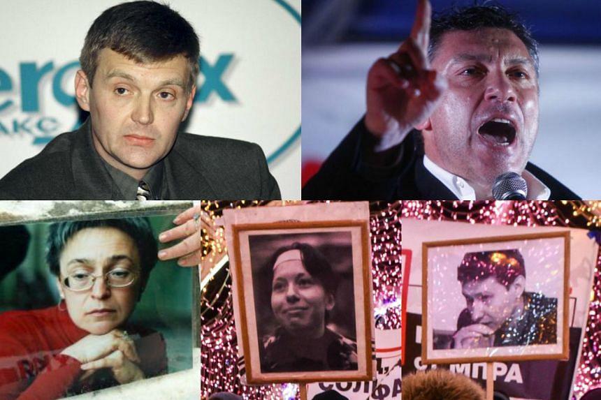 (Clockwise from top left) Alexander Litvinenko, Boris Nemtsov, Stanislav Markelov, Anastasia Baburova and Anna Politkovskaya.