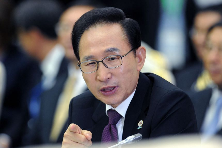 A file photo of former President Lee Myung Bak at the East Asian Summit Plenary Session, on Nov 20, 2012.