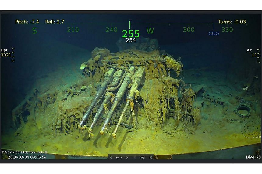The search team released pictures and video of the wreckage of the Lexington, one of the first ever US aircraft carriers, and some of the planes which went down with the ship.