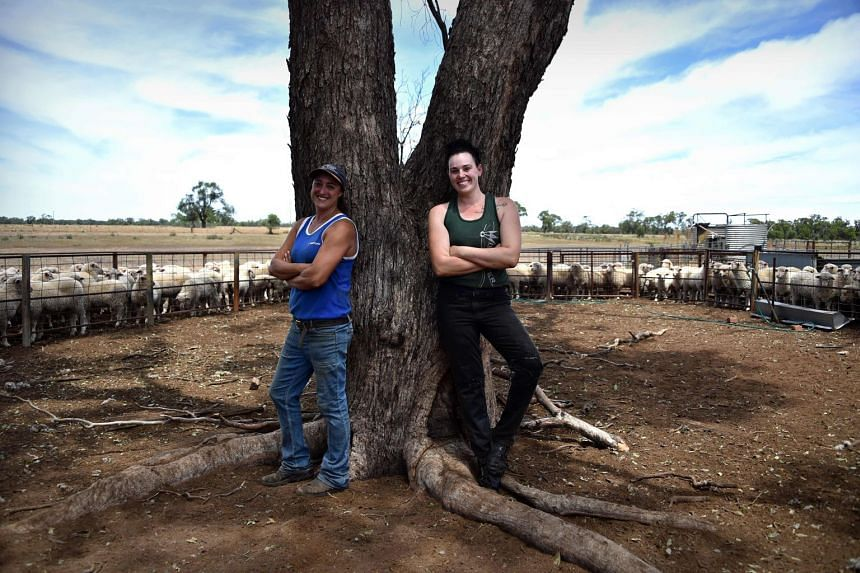 Australian sheep shearer Emma Billet (right) and wool presser Catherine Carter on a station outside the town of Trangie in western New South Wales.