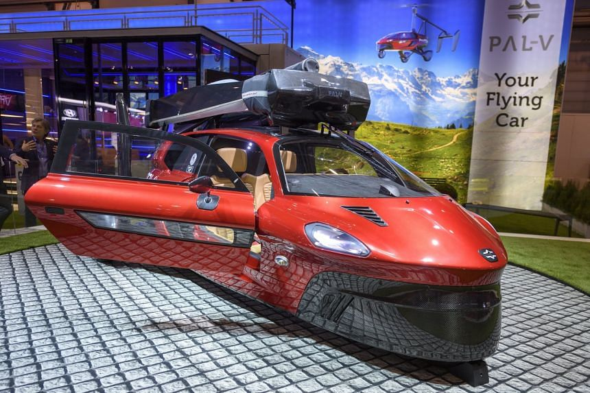 The new PAL-V Liberty Flying Car is presented during a media day at the 88th Geneva International Motor Show.
