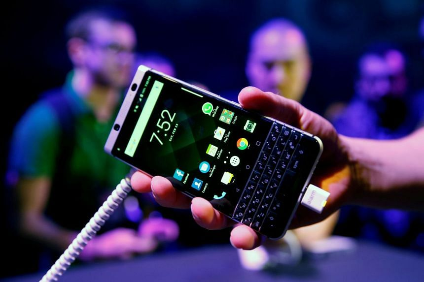 A BlackBerry Key One is presented at the Mobile World Congress in Barcelona, Spain, in 2017.