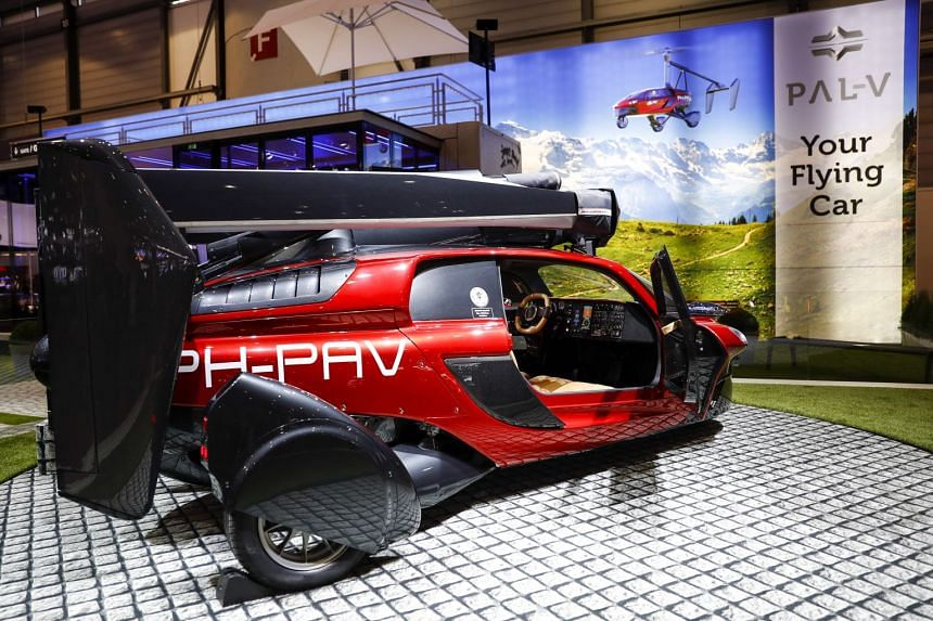 A Pal-V Liberty Flying Car on display on day two of the 88th Geneva International Motor Show.