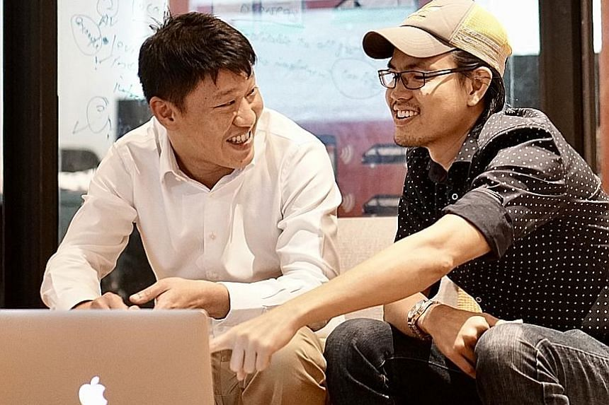Co-founders Arthur Chua (left) and Jarrold Ong want their service to be 25 per cent slower than cabs but 75 per cent cheaper.