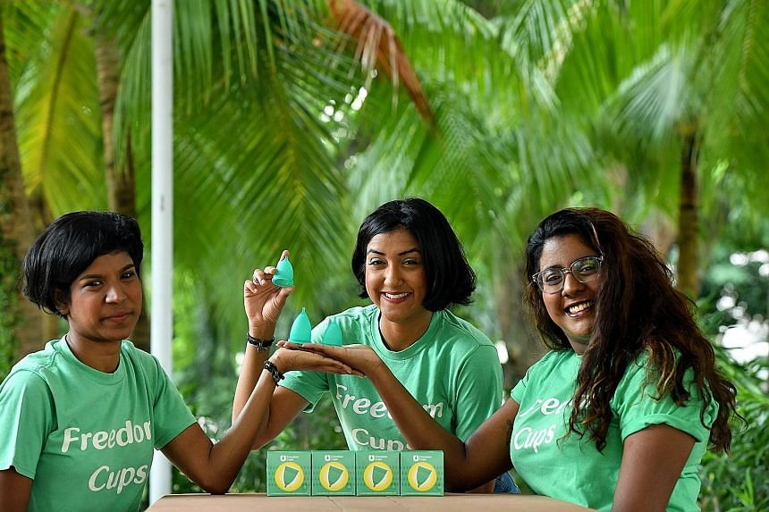 (From far left) Sisters Joanne, Vanessa and Rebecca Paranjothy run a social enterprise that promotes the use of reusable menstrual cups, called freedom cups.