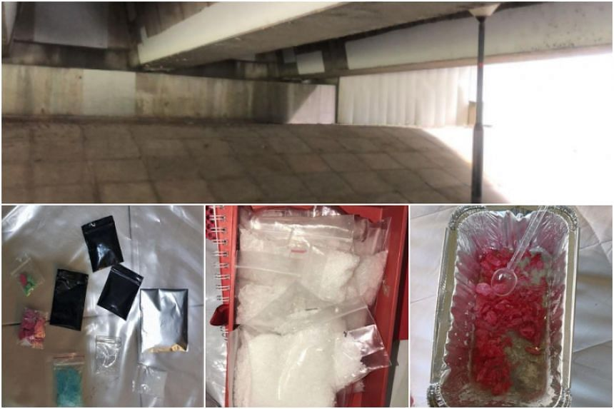 Some of the drugs seized in various operations on March 6, 2018. The 34-year-old drug syndicate leader was arrested under a bridge in Punggol Promenade Riverside Walk (above).