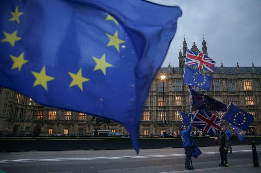 Pro-EU, anti-Brexit demonstrators hold the EU and British flags outside Parliament in central London.