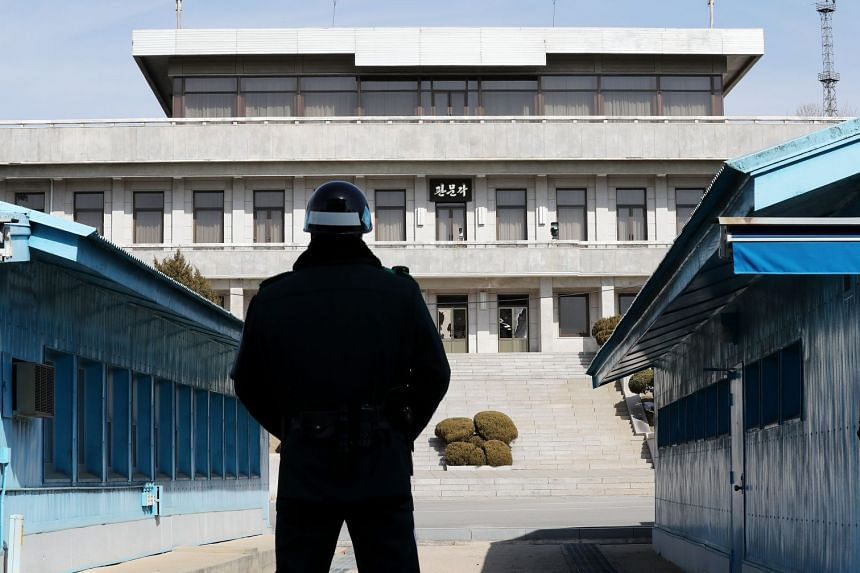 A South Korean soldier standing guard at the truce village of Panmunjom on Feb 21, 2018.