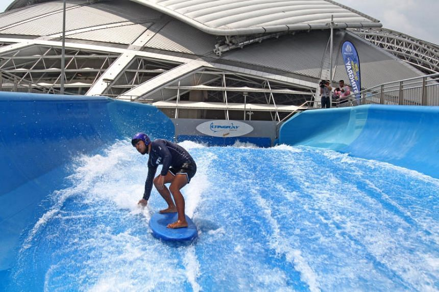 The Sports Hub's water festival this weekend will enable families to immerse themselves in different activities, including wave surfing on the Stingray.