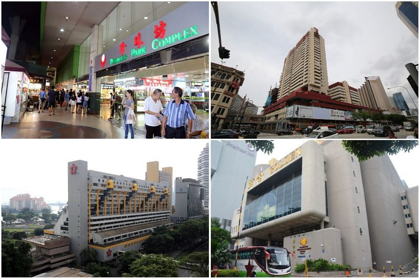 (Clockwise from top left) People's Park Complex, People's Park Centre, Golden Mile Tower and Golden Mile Complex.