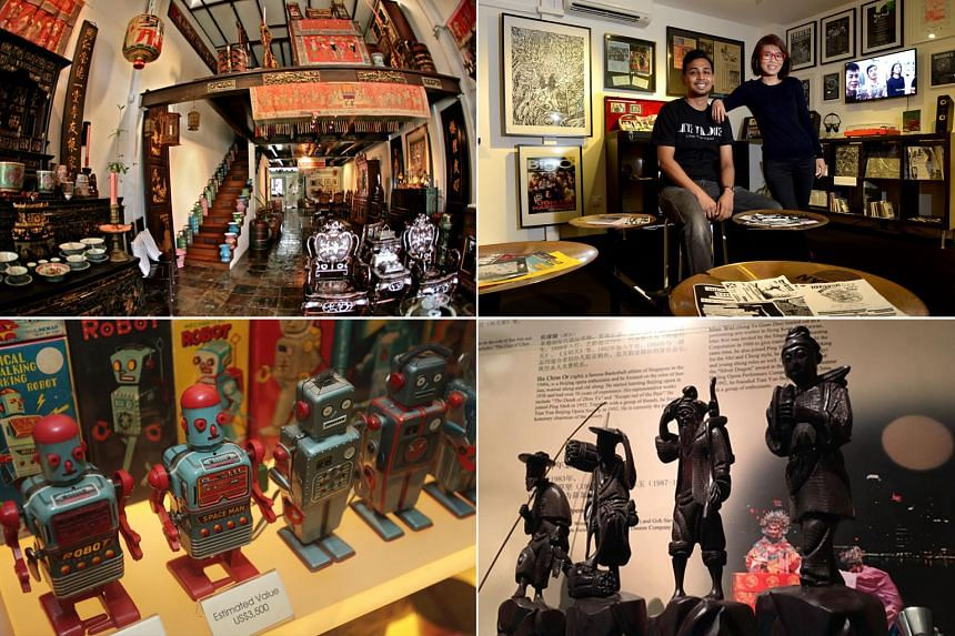 Clockwise from top left: The interior of The Intan, founders of the Museum of Independent Music, artefacts at the Singapore Chinese Opera Museum and items displayed at the Mint Museum of Toys.