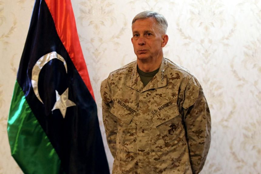Marine General Thomas Waldhauser, the top US military commander overseeing troops in Africa, attending a news conference in Tripoli, Libya, on May 23, 2017.