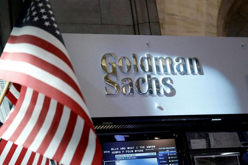 A view of the Goldman Sachs stall on the floor of the New York Stock Exchange,