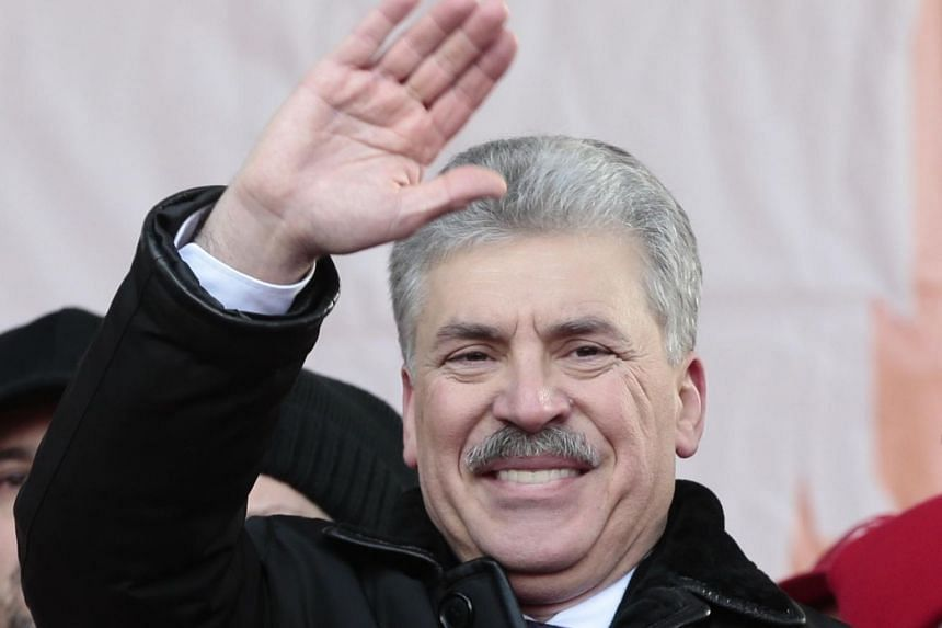 Pavel Grudinin (pictured), a wealthy businessman, is running a distant second to Mr Putin in opinion polls but his poll numbers have grown, while Mr Putin's have dipped.