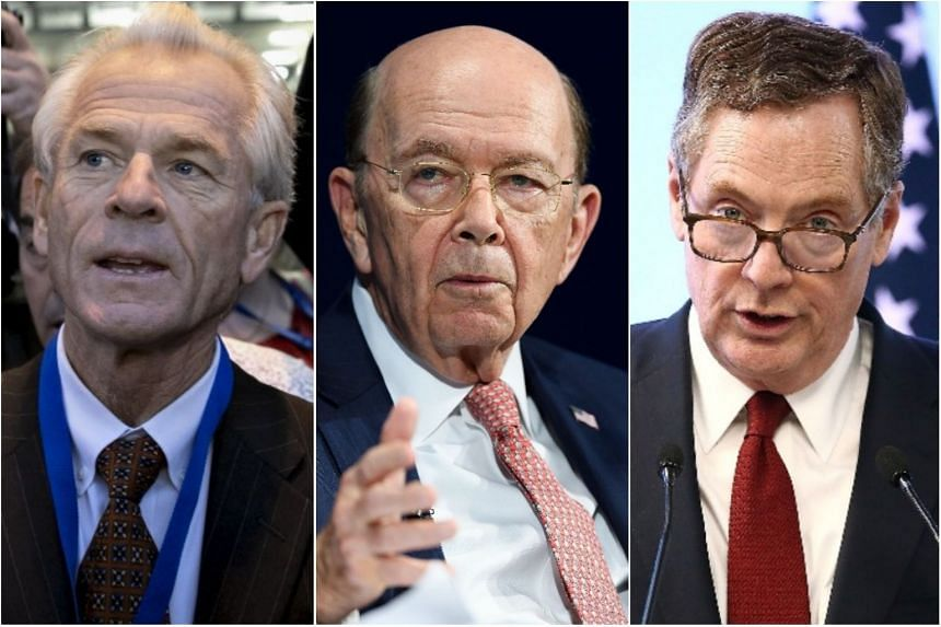 """Director of the White House's Trade and Manufacturing Policy office Peter Navarro (left), Commerce Secretary Wilbur Ross (centre) and US Trade Representative Robert Lighthizer. Officials say Dr Navarro is one of the """"top candidates"""" to succeed Mr Gar"""