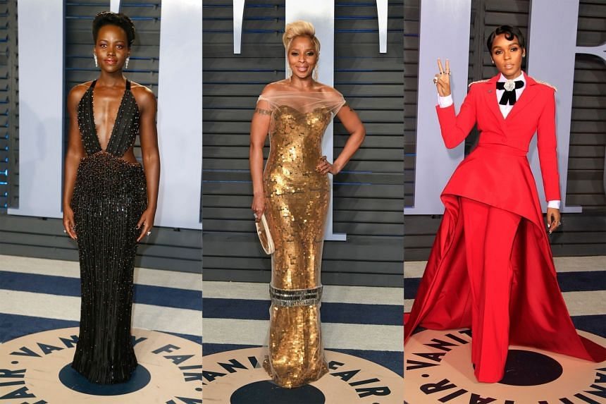 Left: Black Panther star Lupita Nyong'o looks stunning in a black, beaded column dress by Giorgio Armani Prive at Vanity Fair's Oscars after-party. Centre: Singer and Mudbound star Mary J. Blige resembles a statuette in a gold custom Vera Wang dr