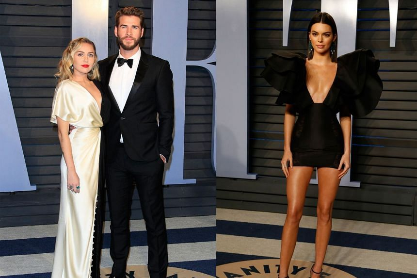 Left: Singer Miley Cyrus (in a colour block dress by Prabal Gurung) with her fiance, actor Liam Hemsworth, at Vanity Fair's Oscars after-party. Right: Model Kendall Jenner looks sleek in a little black dress with dramatic layers of ruffles by Redem
