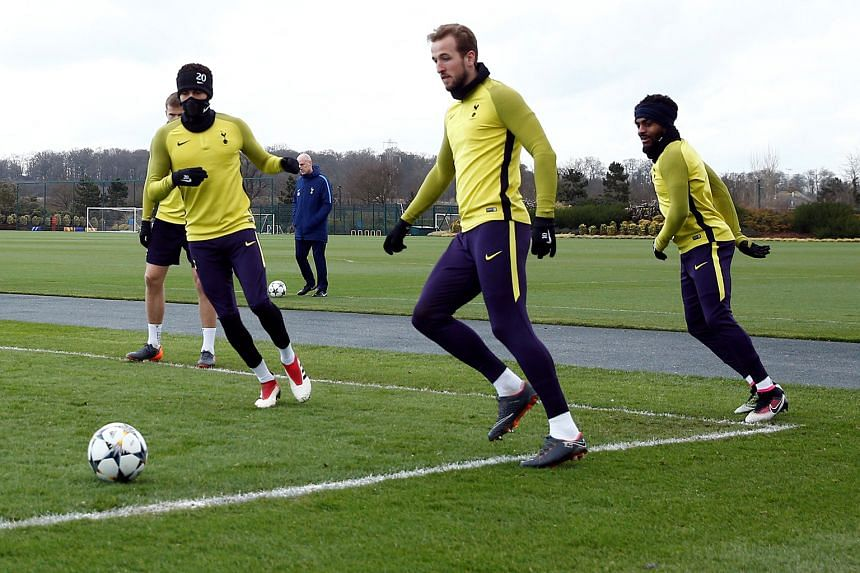 Tottenham players led by Harry Kane (second from right) and Dele Alli playing piggy in the middle at their training centre in Enfield ahead of their second leg against Juventus. Spurs hold a slender advantage over the Italian champions by virtue of t