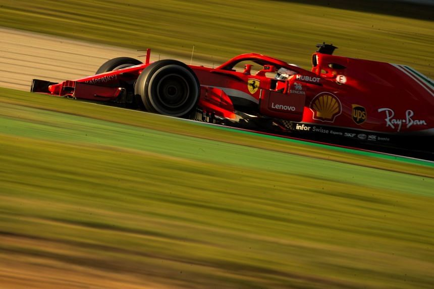 German Formula One driver Sebastian Vettel of Scuderia Ferrari in action during the second Formula One pre-season test sessions at Circuit de Barcelona-Catalunya race track in Montmelo, Spain, on March 6, 2018.