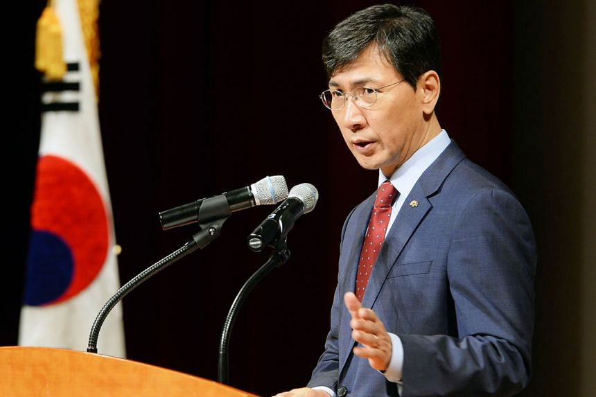 Ahn Hee Jung, governor of South Korea's South Chungcheong Province, at a meeting in Yesan on March 5, 2018.