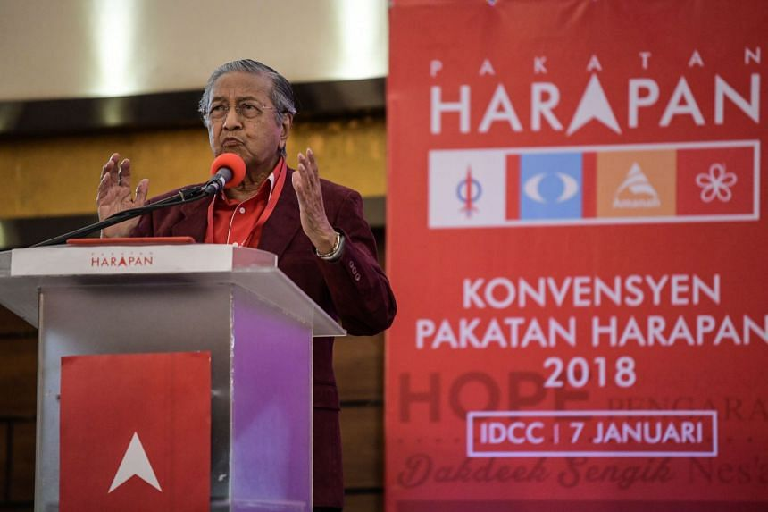 Former Malaysian prime minister Mahathir Mohamad delivering a speech after he was elected as the opposition's prime ministerial candidate during the four-party coalition Pact of Hope (Pakatan Harapan) convention in Shah Alam, outside Kuala Lumpur on
