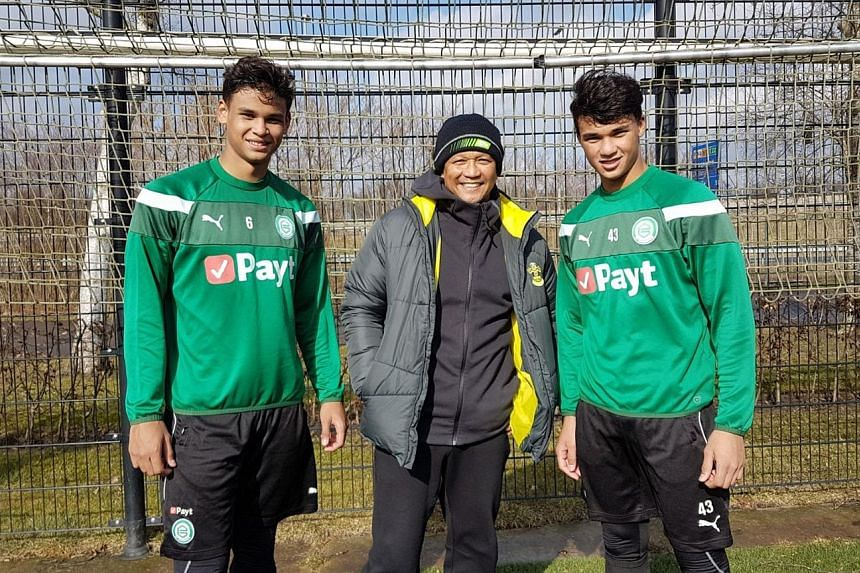 Fandi Ahmad returns to FC Groningen, his former club in the Netherlands, with his sons Irfan (left) and Ikhsan. The duo are on a 10-day trial at the Eredivisie side, where Fandi played from 1983-1985.
