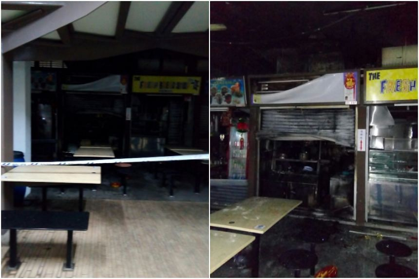 A Straits Times reader, who wanted to be known only as Mr Hu, said the owner of a beehoon stall behind the burnt stall arrived at 2.30am to open the stall. Upon noticing the fire, the stall owner called the police.