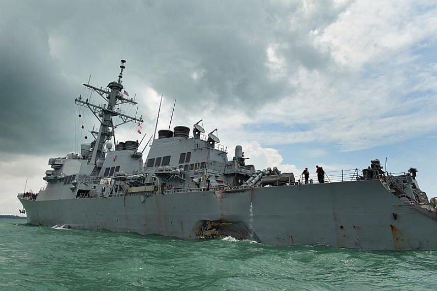 Ten American sailors on board the McCain died in the accident, which occurred near Pedra Branca - situated at the eastern entrance to the Singapore Strait.