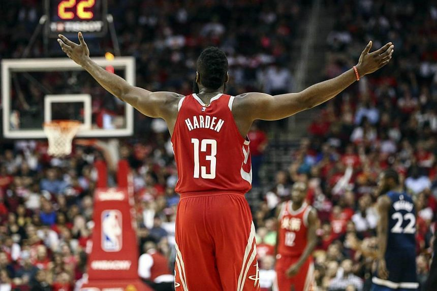 Houston Rockets guard James Harden reacts after a play during the second quarter against the Minnesota Timberwolves at Toyota Center, on Feb 23, 2018.