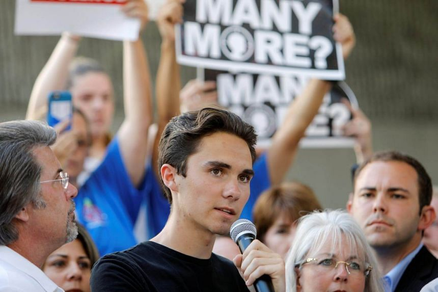 David Hogg, a senior at Marjory Stoneman Douglas High School, speaks at a rally calling for more gun control three days after the shooting at his school, in Fort Lauderdale, Florida, US on Feb 17, 2018.