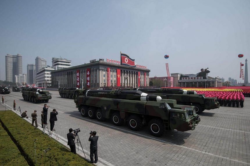 An unidentified missile and mobile launcher making its way through Kim Il-Sung Square during a military parade in Pyongyang, North Korea, on April 15, 2017.
