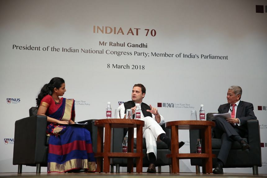 Mr Rahul Gandhi (centre), president of India's Congress party, is in Singapore to court the influential Indian diaspora as his party gears up to challenge the ruling Bharatiya Janata Party in general elections due to be held by May 2019.